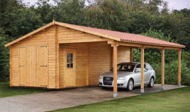 Attached wood carports