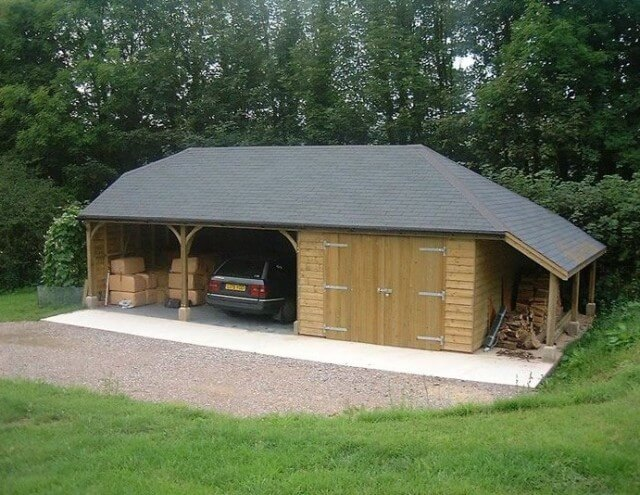Gabled roof wood carport design
