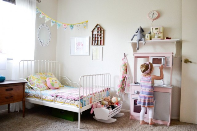 vintage color toddler girl bedroom