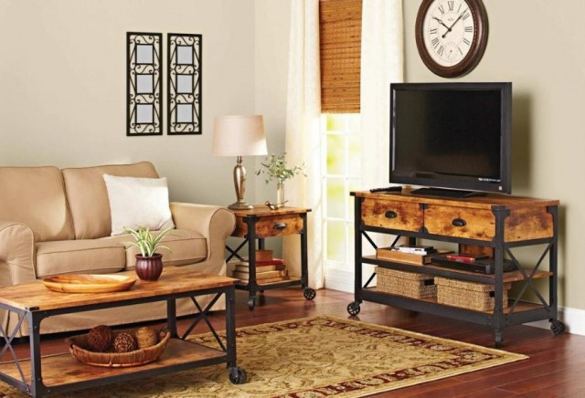 Rustic Living Room with TV Stand