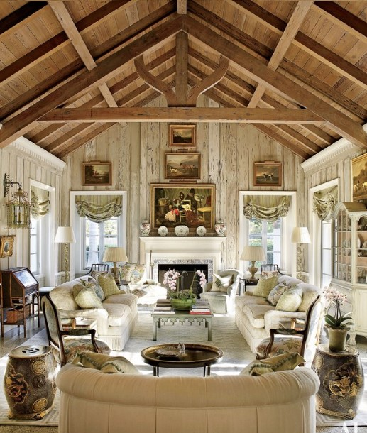 Rustic Living Room with Wall Art