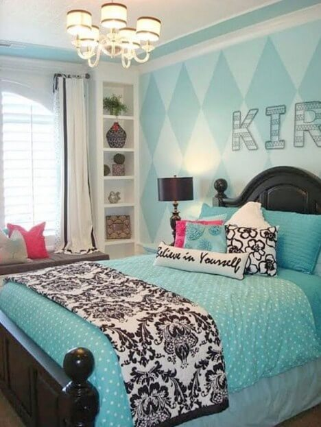 blue teen girl bedroom