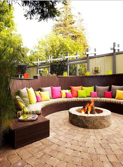 fire pit with half circle sofas