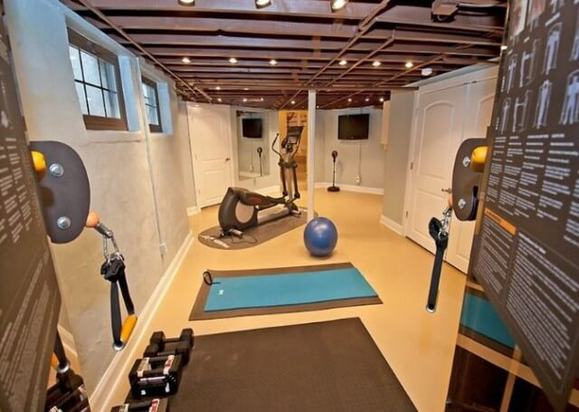 Gym Basement Ideas with Masculine Finished Ceiling that suite for sport lover. Do sport in your own basement without going to gym anymore.