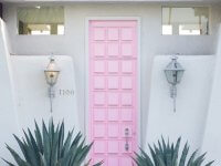 7. Front Door with Soft Pink Colors