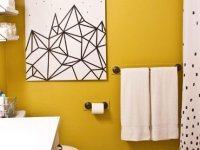 7. Washi Tape Geometric Wall Art For Shower Room