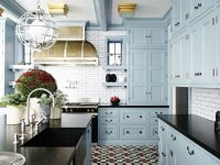 blue kitchen cabinet
