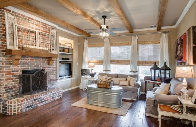 Rustic Living Room with Brick Decor