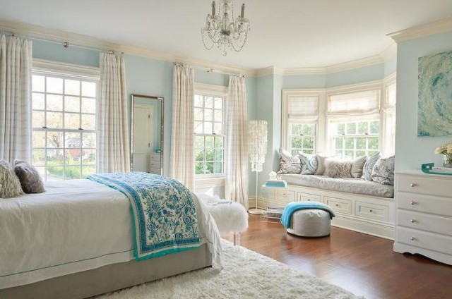 bedroom bay window curtain