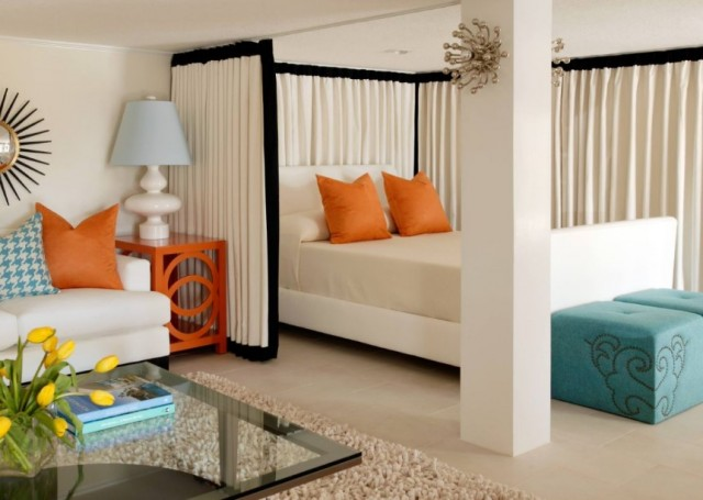 bedroom with room divider