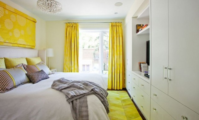 bedroom with yellow curtain