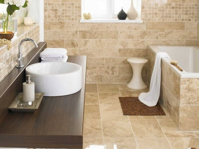 brown beige bathroom tiles