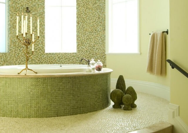 green mosaic bathroom tile