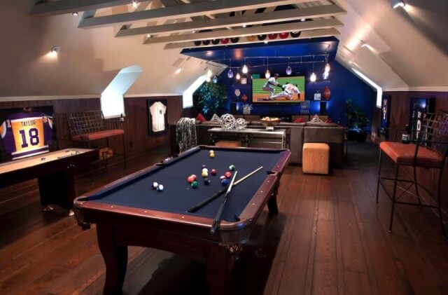 Man cave basement ideas for a game room. The design looks more attractive in these basement game room decorating ideas