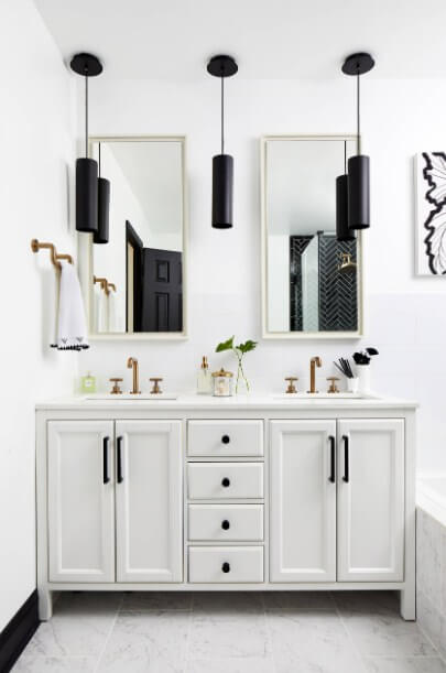 black bathroom lighting decor