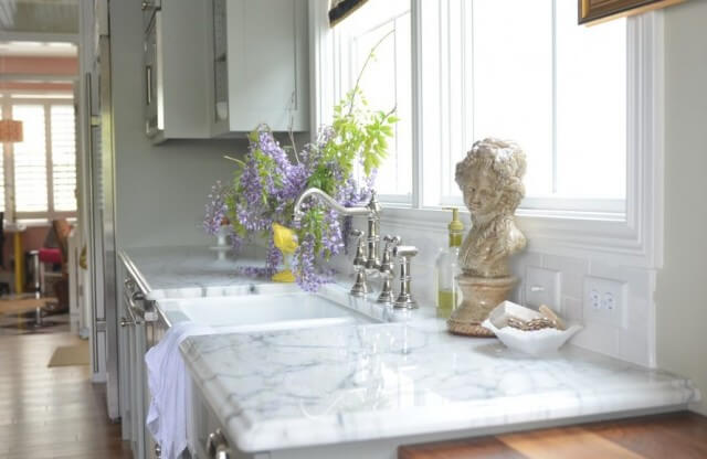 marble countertop with sink
