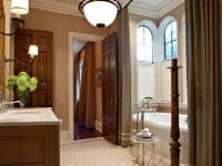 traditional bathroom with globe lighting