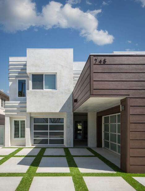 white stucco with wood siding